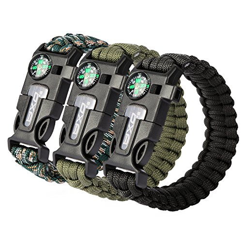 OXA Survival Paracord Bracelet, Survival Bracelet with Multi Tool - Embedded Compass, Fire Starter, Emergency Knife, Whistle, Rescue Rope for Hiking Traveling (Black+Green+Camouflage)