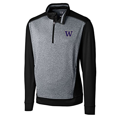 Cutter & Buck NCAA Washington Huskies Adult Men CB Drytec Replay Half Zip, Large, Black ()