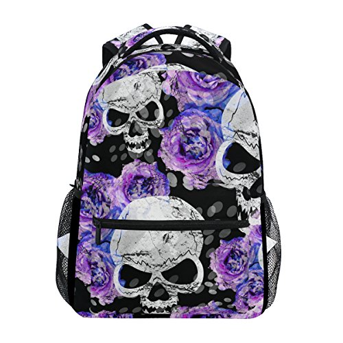 ZZKKO Day of The Dead Sugar Skull Flower Boys Girls School Computer Backpacks Book Bag Travel Hiking Camping Daypack