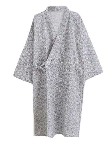 Coolred-Men Fine Cotton Chevron Wrap-Front Loungewear Kimono Robe Grey M by Coolred-Men (Image #1)