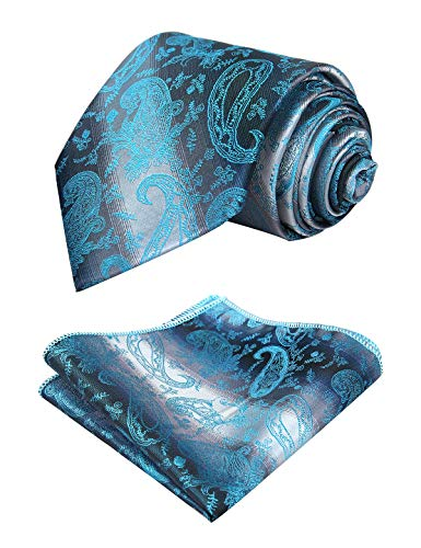 Alizeal Mens Gradient Paisley Tie and Pocket Square Set, Turquoise