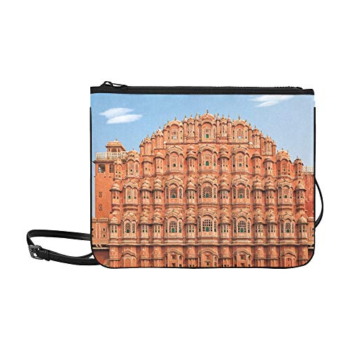 Messenger Bag Clutch Facade Of Hawa Mahal Palace In Jaipur Rajasthan High-grade Nylon Adjustable Shoulder Strap Sports Shoulder Bag For Men For Shopping Travel Hiking Work
