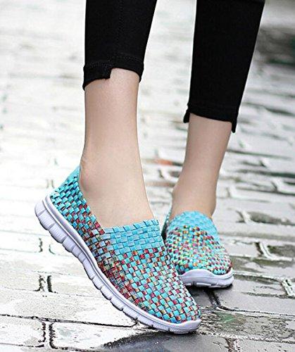 GFONE Unisex Women's Men's Light Weight Weave Elastic Slip On Flat Sandal Fitness Walking Casual Shoes Size 2.5-9.5 Skyblue zrM4tkZqT