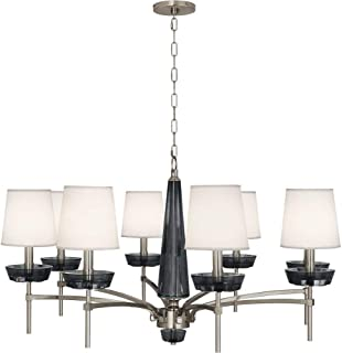 product image for Robert Abbey S625 Cristallo - Eight Light Chandelier, Polished Nickel Finish with Ascot Cream Fabric Shade with Smoke Crystal