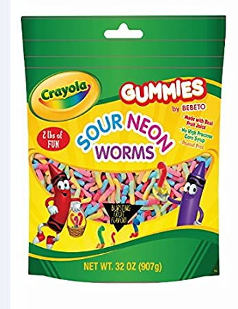 amazon com crayola 2lb bag assorted gummy flavors sour neon worms