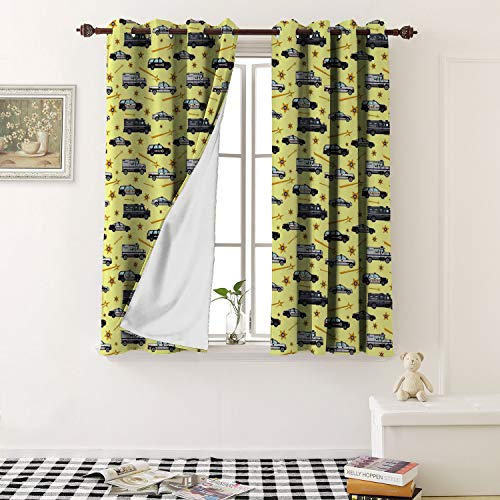 1GShophome Blackout Window Curtain Detailed Seamless Background with Police Cars in a Flat Style Print Grommets Blackout Draperies for Bedroom (2 Pieces, 31.5