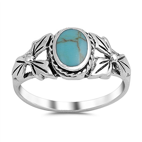 Oval Center Simulated Turquoise Leaves Bezel Rope Ring Sterling Silver 925 Size (Oval Leaf Ring)