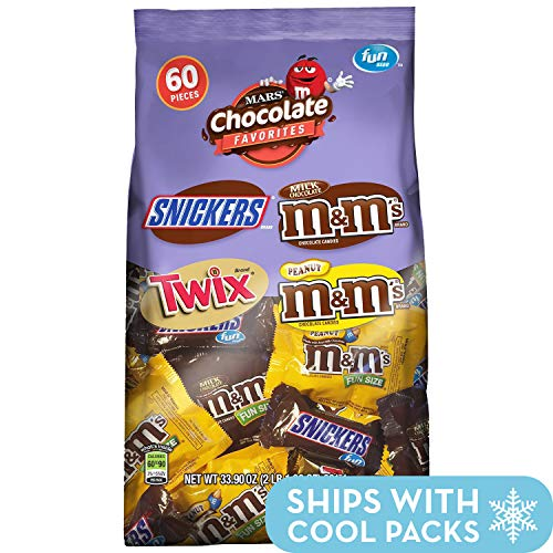 SNICKERS, M&M'S & TWIX Fun Size Candy Variety Mix, 60 Pieces]()