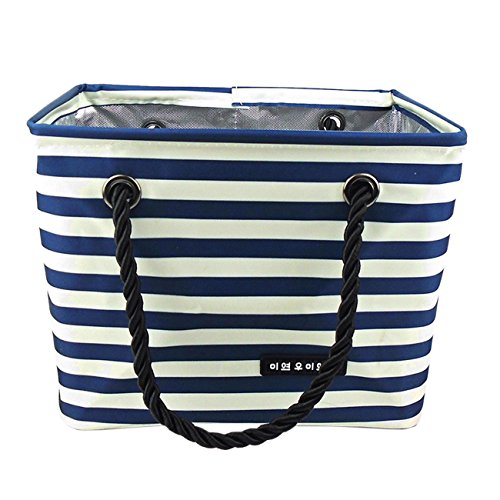 THEE Oxford Stripe Mesh Shower Caddy Shower Tote Bathrooms ()