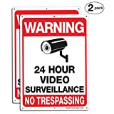Faittoo 2-Pack Video Surveillance Sign, No Trespassing Metal Reflective Warning Sign, 10 x 7 Inches 0.40 Aluminum Indoor or Outdoor Use for Home Business CCTV Security Camera,UV Protected & Waterproof