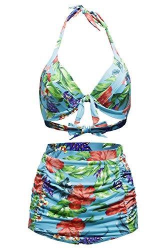 FARYSAYS Women Floral Print Retro High Waist 2PCS Bikini Swimsuits XL
