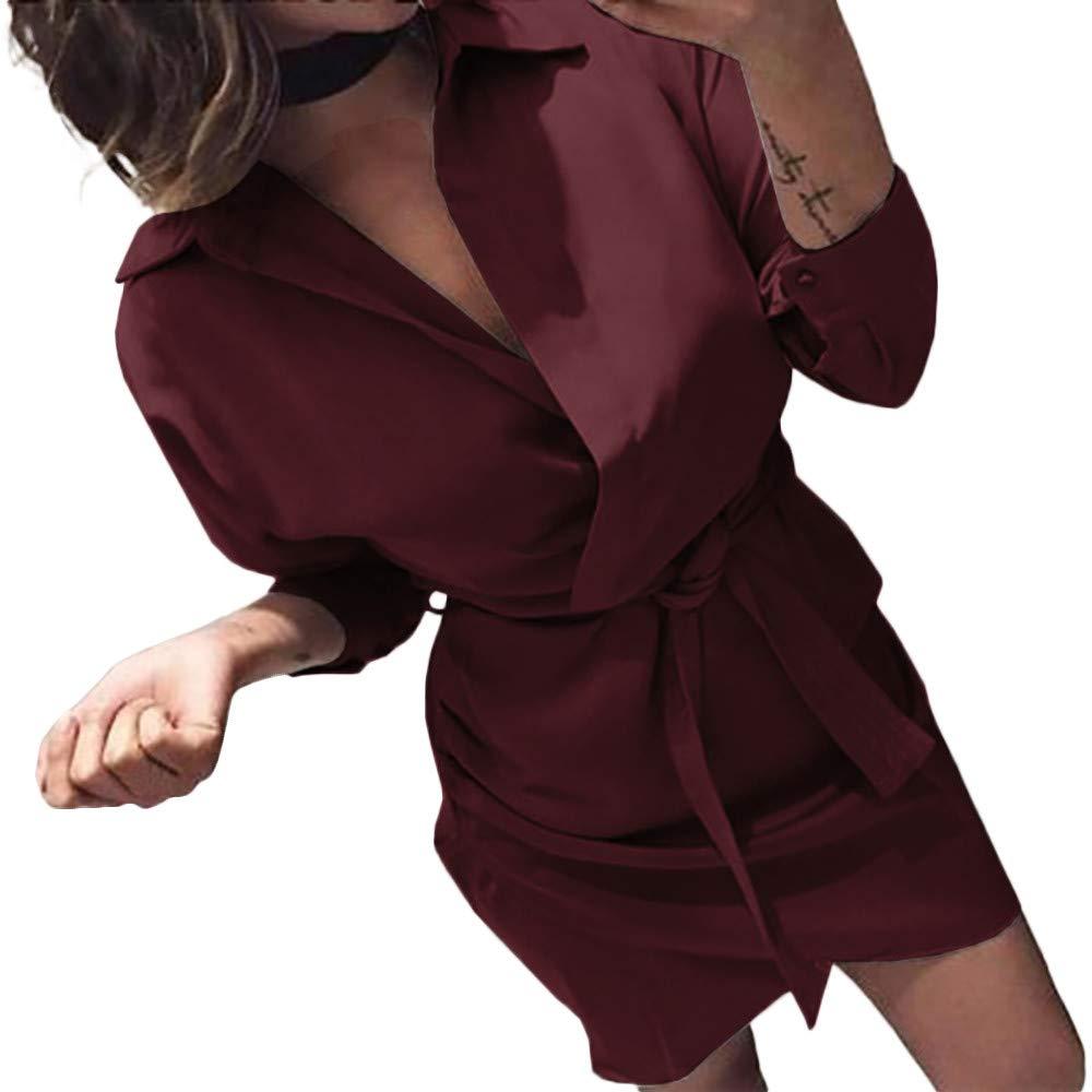 Dragon868 Moda Mujer Manga Larga con Cordones Casual Blusa Vestidos(Rojo,XL): Amazon.es: Juguetes y juegos