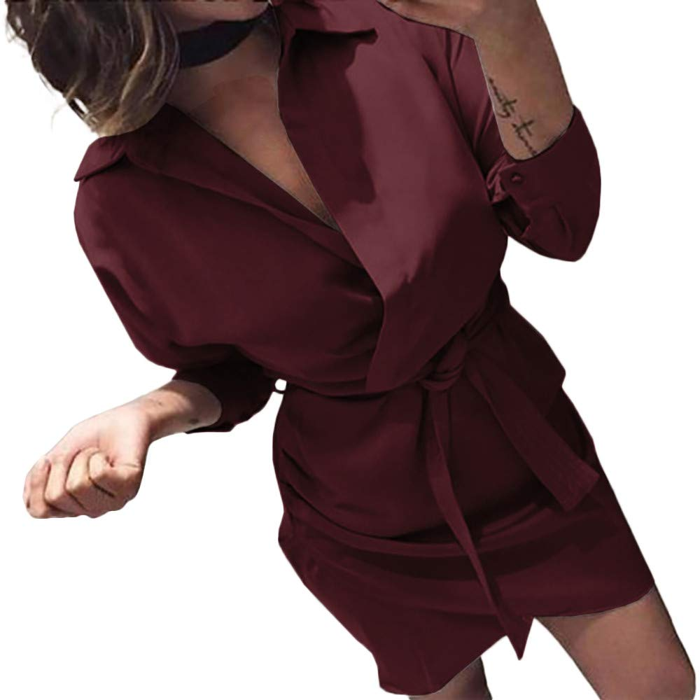Dress Pants for Women with Pockets,Women's Fashion Long Sleeve Autumn Casual Knotted Blouse Dress,Suiting & Blazers,Red,M