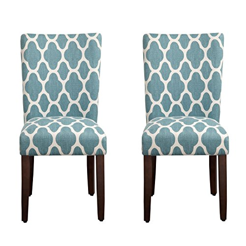 HomePop Parsons Classic Upholstered Accent Dining Chair, Set of 2, Teal and Cream Geometric (Teal Pieces Accent)