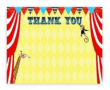 Amazon Com Pop Parties Big Top Circus Thank You Cards 10 Thank
