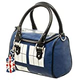 Official TARDIS Mini Satchel and Metal Charm Keychain Shoulder Handbag, Blue