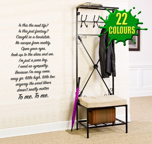 - Bohemian Rhapsody 2 (Queen Lyric wall decal sticker quote (Color: Cream Size: Large)