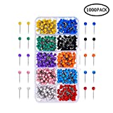 Map Pin Kit, 500/1000pcs Colors Mapping Pins 1/8 Inch Diameter Plastic Round Head and Steel Needle Points Map Pins Multi Colored with Divided Plastic Holder