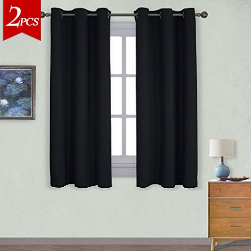 NICETOWN Pitch Black Solid Thermal Insulated Grommet Blackout Curtains / Drapes For Bedroom Window (2 Panels,42 Inch Wide by 63 Inch Long,Black) (Furniture Porch Patio Ideas)