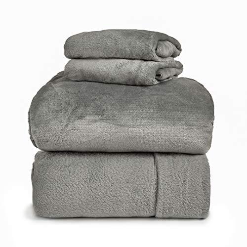 Spyder Insulated Warm Fleece Flannel Plush Sheet Set Pillow Case Flat & Fitted Sheet (Limestone, Full)