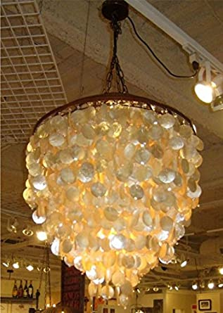 shimmer large ivory capiz shell chandelier - Capiz Shell Chandelier