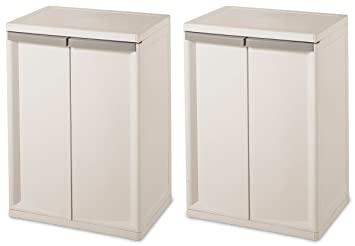 Superieur Sterilite 01403V01 Flat White Heavy Duty 2 Shelf Cabinet