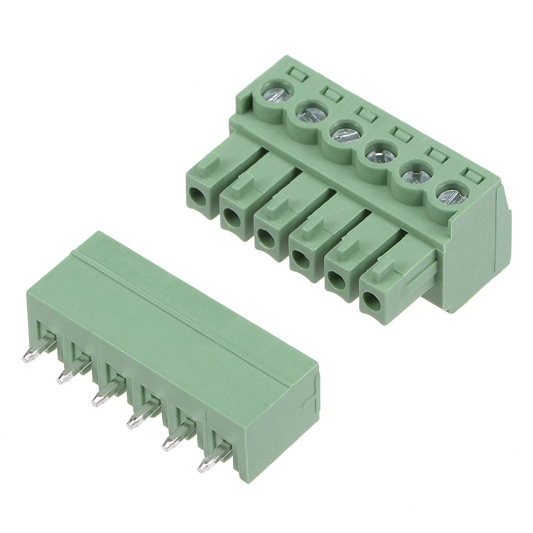 uxcell 4 Pairs 3.81mm Pitch 6Pin Pluggable Terminal Block Connector Male and Female for PCB