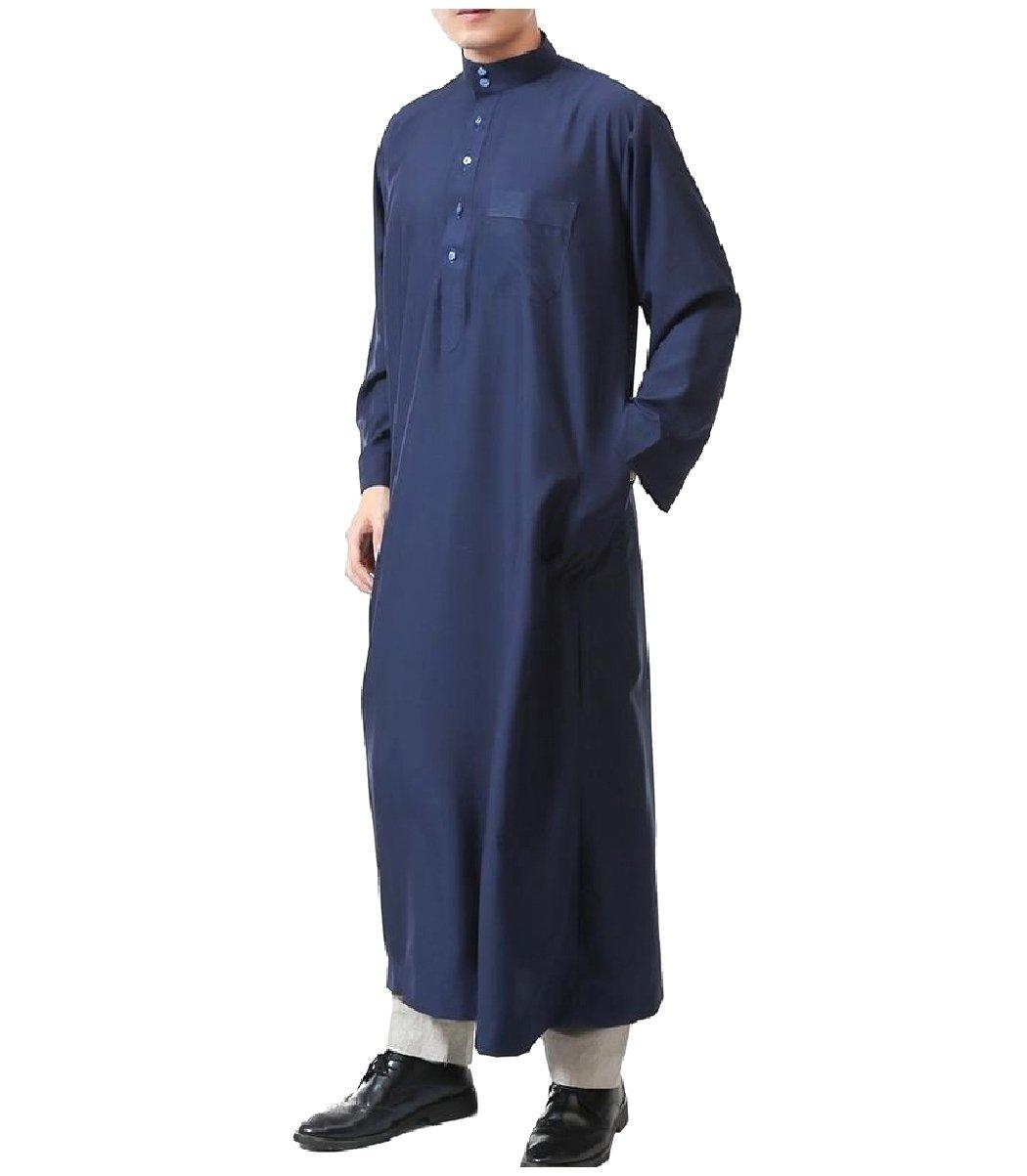 Coolred Men Pockets Pure Colour Islamic Button Muslim Thobes Dishdasha Navy Blue 56