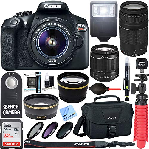 Canon T6 EOS Rebel DSLR Camera w/ EF-S 18-55mm IS II & 75-300mm III Lens Kit + Accessory Bundle 64GB SDXC Memory + SLR Photo Bag + Wide Angle Lens + 2x Telephoto Lens + Flash + Remote + Tripod & More from Canon
