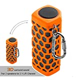 Hapyia Portable Wireless Bluetooth Speaker, Pair 2 speakers for 3D Stereo Surround Sound [New Release] - One Speaker (Orange)