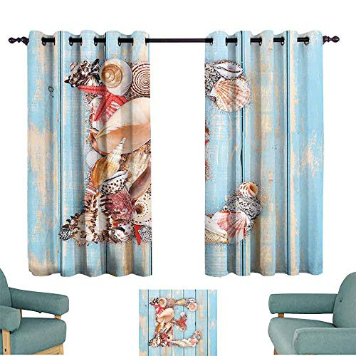 Mannwarehouse Letter E Light Luxury high-end Curtains Stylized E Font Different Lively Seashells Exotic Underwater Life Set of Two Panels 63