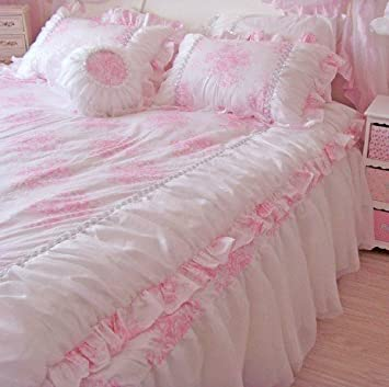romntico rosa volantes encaje de flores funda de edredn queen conjuntos de ropa de cama