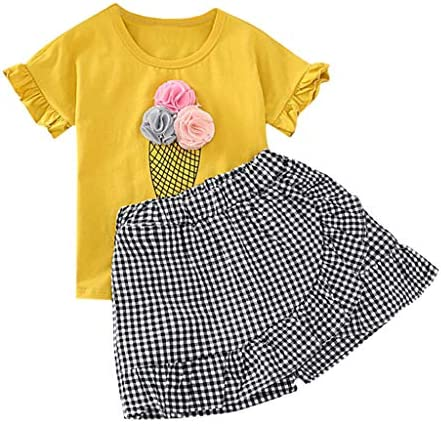 JERFER Baby Set Toddler Kid Girls Outfits Clothes Ice Cream T-Shirt+Plaid Shorts Pants Set