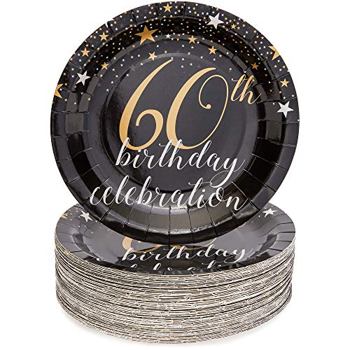 60th Birthday Party Plates (Sparkle and Bash 60th Birthday Paper Plates (80 Count), 9)
