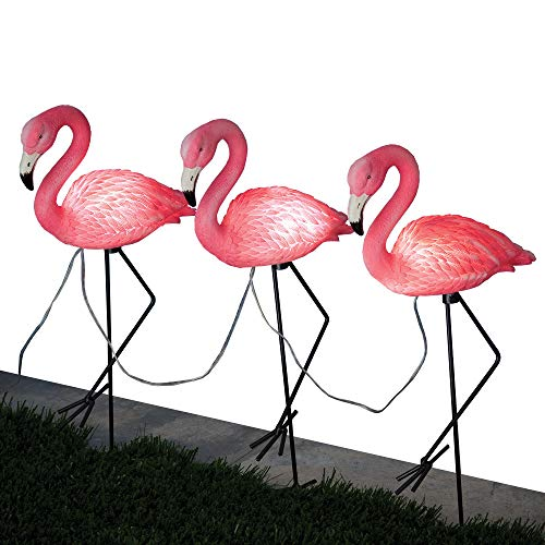 Bits and Pieces - Three (3) Solar Flamingo Path Lights - Automatic Outdoor Lighting and Garden Décor ()