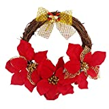 ANQI Simulation Rattan Bow Decorative Garland Mall Kindergarten Christmas Decorations Red Door and Window Garland 1PC
