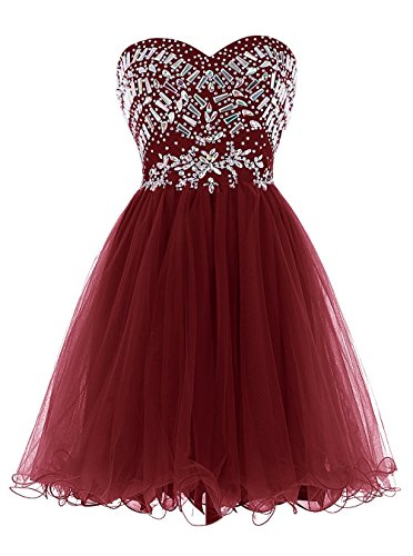 Kleider Red Damen Wedding Kurz Burgundy Ball Party 2016 Ball Fanciest Dark Kleider Beaded P4CXxwqn1