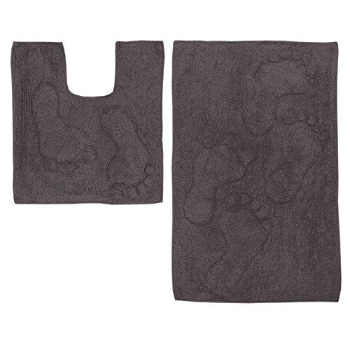 Just Contempo Füße Baumwolle Bad und WC-Vorleger-Set, lila, baumwolle, anthrazit, 46 x 76 cm