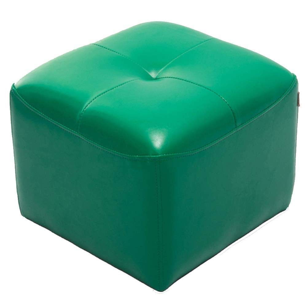 Green Footstool, Leather Stool Household Living Room Small Change shoes Seat Bench (color   Green)
