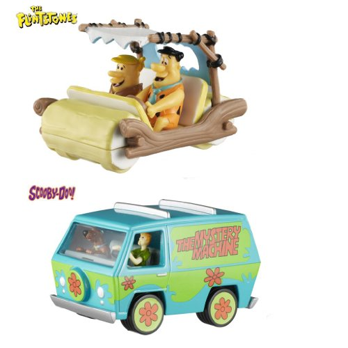 Set of 2 Hot Wheels Elite One: THE FLINTMOBILE and SCOOBY-DOO! THE MYSTERY MACHINE 1:50 Scale