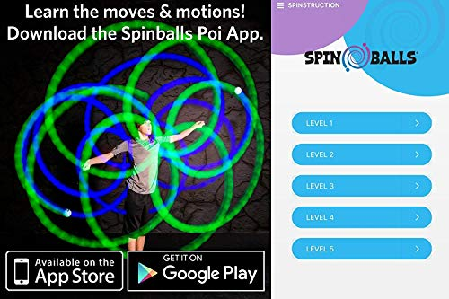 Fun In Motion - Spinballs - Flow Poi Balls - Spinning LED Light Toy - Light Up Spinners - Pair by SPIN BALLS (Image #5)