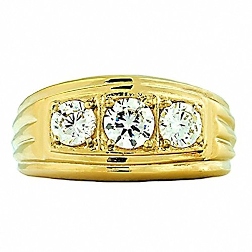 Navarro G: Mens 1 ct Ice on Fire CZ 3 Stone Band Ring 316 Steel & IP Gold-tone finish, sz 13.0 (3 Stone Ring Design)