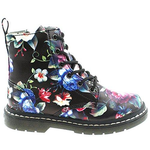 UK Giselle Fantasia Kelly Lelli 10 Floral LK7520 28 Ankle FB02 Nero Boots v1Z1pxnw