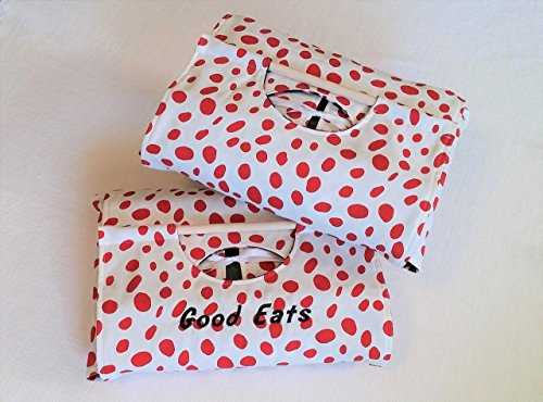 (Red Spotted Dish Tote 9x13 - Optional Monogram Embroidery, Made in USA)