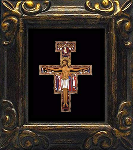Trinity Stores Mini Magnet Framed Religious Art Print - Antique Black-3¾x4¼ - San Damiano Crucifix by Br. Robert Lentz, -