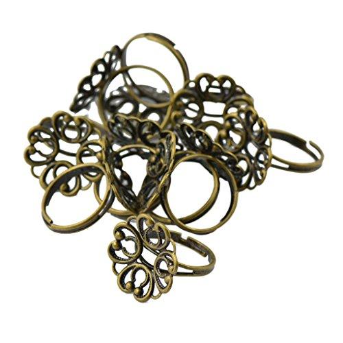 Vintage Adjustable Brass Blank Filigree Flower Ring Base Pack of 10 - Vintage Bronze