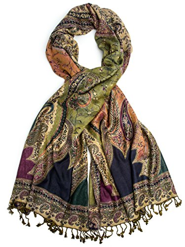 Bohomonde, Hana Reversible Cashmere Silk Pashmina Scarf, hand made in India (Green/Olive/Purple)