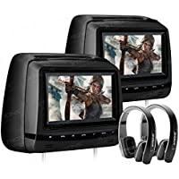 XTRONS Black Twin 2x7 Touch Panel HD Digital Screen Car Headrest DVD Player Monitor Adjustable Viewing Angles TV Game IR Headphones Included