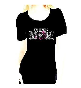 f7509ab98639 Amazon.com: Cheer Mom Go Team Rhinestone Glitter Womens Scoop Tee ...