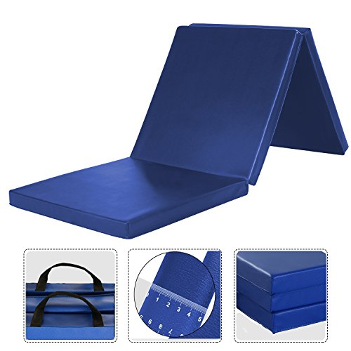 WolfWise 6'x2' Gymnastic Mats Folding Exercise Mat Tri-Fold Tumbling Traning Fitness Panel Gym Pad, No-Slip Blue